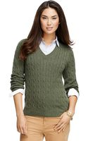 Brooks Brothers Cashmere Cable Knit Vneck Sweater - Lyst