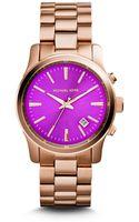 Michael Kors Runway Purple and Rose Goldtone Stainless Steel Watch - Lyst