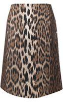 Lanvin Leopard Mini Pencil Skirt - Lyst