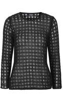 Topshop Womens Crochet Sweatshirt - Black - Lyst