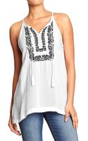 Old Navy Embroidered Gauze Sleeveless Tops - Lyst