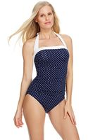 Lauren by Ralph Lauren Harbor Dot Bel Aire One Piece Swimsuit - Lyst