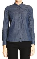 Armani Jeans Shirt Chambray with Piping Lurex - Lyst