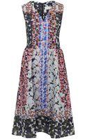 Peter Pilotto Pink Geometric Print Silk Blend Dress - Lyst