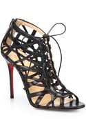 Christian Louboutin Laurence Leather Cage Laceup Sandals - Lyst
