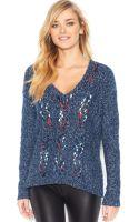 Kensie Long-sleeve V-neck Open-knit Sweater - Lyst