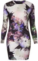 Topshop Petite Floral Print Bodycon Dress - Lyst