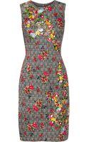 Oscar de la Renta Embroidered Herringbone Wool and Silkblend Dress - Lyst