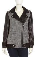Betsey Johnson Tweed Fauxleather Zip Moto Jacket - Lyst