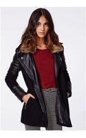 Missguided Tavi Fur Collar Leather Sleeve Biker Coat Black - Lyst