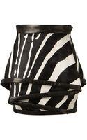 Balmain Ponyskin Leather Zebra Printed Tulip Skirt - Lyst