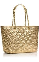 Tory Burch Marion Small Quilted Metallic Tote Bag Gold - Lyst