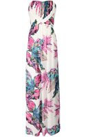 Jane Norman Pleated Bandeau Floral Maxi Dress - Lyst