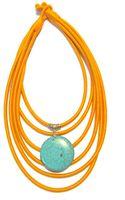 Nangara By Júlia Fusinato Orange and Turquoise Cotton Necklace - Lyst