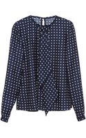 Martin Grant Polka Dot Long Sleeve Silk Top with Neck Tie - Lyst