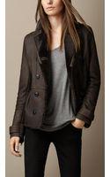 Burberry Shearling Peplum Jacket - Lyst