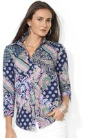 Lauren by Ralph Lauren Petite Three Quarter Sleeve Paisley Print Shirt - Lyst