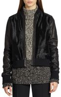 Vince Leather-sleeved Calf Hair Bomber Jacket - Lyst