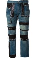 Junya Watanabe Contrast Panel Cropped Jeans - Lyst