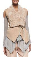 Donna Karan New York Self-belted Vest W Fur Collar - Lyst