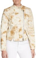 3.1 Phillip Lim Splatter Print Leather-trimmed Denim Moto Jacket - Lyst