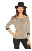 Maison Jules Threequartersleeve Leopardprint Sweatshirt - Lyst
