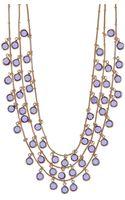 Anne Klein Threerow Goldtone Tanzanite Crystal Necklace - Lyst