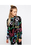 Lazy Oaf Oversized Shirt with Neon Squiggle Print - Lyst