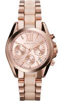 Michael Kors Womens Chronograph Mini Bradshaw Blush and Rose Gold Tone Stainless Steel Bracelet Watch 36mm - Lyst