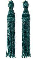 Oscar de la Renta Long Beaded Tassel Earrings Forest Green - Lyst