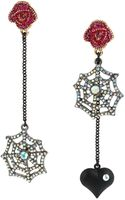 Betsey Johnson Mismatched Crystallized Spider Web Drop Earrings - Lyst