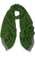 Missoni Green Zigzag Chunky Knit Wool Scarf - Lyst