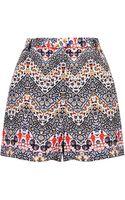 Topshop Womens Tall Exclusive Zigzag Print Shorts Multi - Lyst