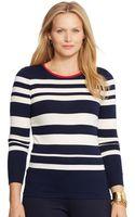Lauren by Ralph Lauren Plus Striped Zip Crewneck Shirt - Lyst
