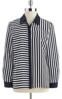 Vince Camuto Striped Button Down Blouse - Lyst