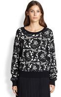 DKNY Silk  Cashmere Printed Sweater - Lyst