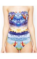 Asos Humming Bird Tropical Print Bandeau Swimsuit - Lyst