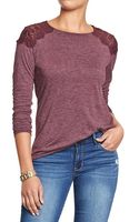 Old Navy Lace-shoulder Tees - Lyst