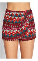 Forever 21 Tribal Print Wrapfront Shorts - Lyst
