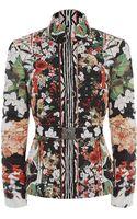 Roberto Cavalli Orchid Print Puffer Jacket - Lyst