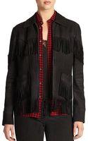 Polo Ralph Lauren Leather Fringe-trim Jacket - Lyst
