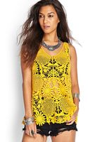Forever 21 Crocheted Floral Top - Lyst