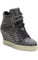 Ash Blondie Studded Leather Wedge Sneakers - Lyst