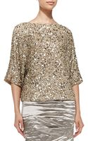 Nicole Miller 34-sleeve Seashell Sequin Top - Lyst
