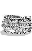 David Yurman Double X Crossover Ring with Diamonds - Lyst