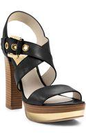 Michael Kors Calder Leather Platform Sandal - Lyst