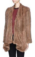 H Brand Ashleigh Rabbit Fur Knit Drape Jacket - Lyst