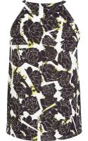 River Island White Geometric Floral Print Racer Front Top - Lyst