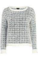 River Island Cream Chevron Pattern Eyelash Knit Sweater - Lyst