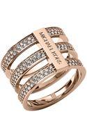 Michael Kors Triplestack Pave Ring Rose Golden - Lyst